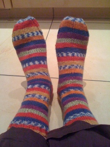 My second pair of odd self knit socks