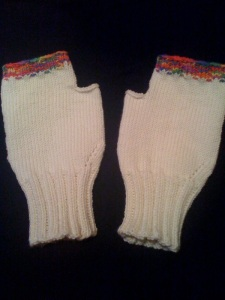 "My new self-knit (no kidding) fingerless ""computer gloves"""